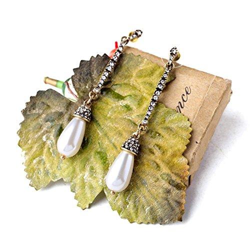JD Million shop Trendy Turkey Jewelry Long Set Crystal Imitation Pearl Ear Drop Earrings