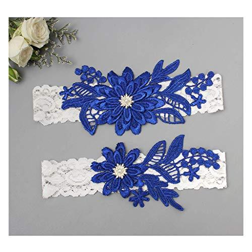 GARGALA Wedding Garters for Bride Bridal Lace Garter Set with Rhainestone Pearls (Royal Blue, Free)