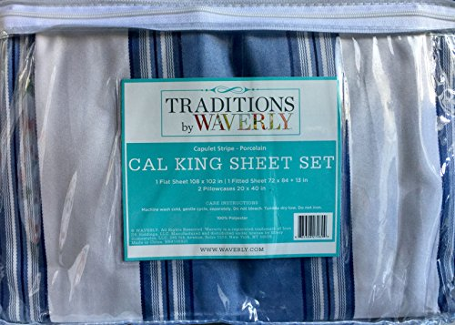 WAVERLY Traditions Luxury Microfiber Cal-King Sheet Set - Capulet Stripe Porcelain
