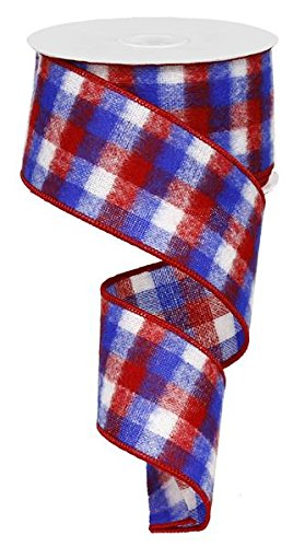 Red White Blue Plaid Flag Wired Edge Ribbon (2.5 Inches) - 50 Yards