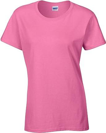 Gildan Mujer Cinta De Cuello Y Hombros Manga Corta Algodón Grueso mujer camiseta: Amazon.es: Ropa y accesorios