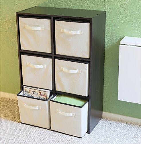 Simplehouseware foldable cube storage bin beige 6 pack for Beige bathroom bin