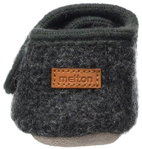 Melton Unisex Baby Wollhausschuhe mit Klettverschluss Krabbelschuhe Grau (Antrazite)