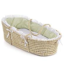 Badger Basket 00891 Natural Moses Basket With Sage Gingham Bedding