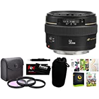 Canon EF 50mm f/1.4 USM Lens with Corel Software Package and Accessory Bundle