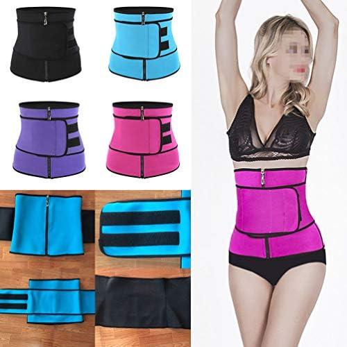 HEALLILY Neoprene Sweat Waist Trainer Yoga Sauna Corset Trimmer Belt Cincher Body Shaper Slimmer for Women Weight Loss Waist Blue (Size L) 6