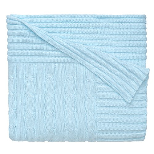 Elegant Baby Premium 100% Cotton Knit Blanket, Classic Cable Knit in Pastel Blue Pink, 30 x 40