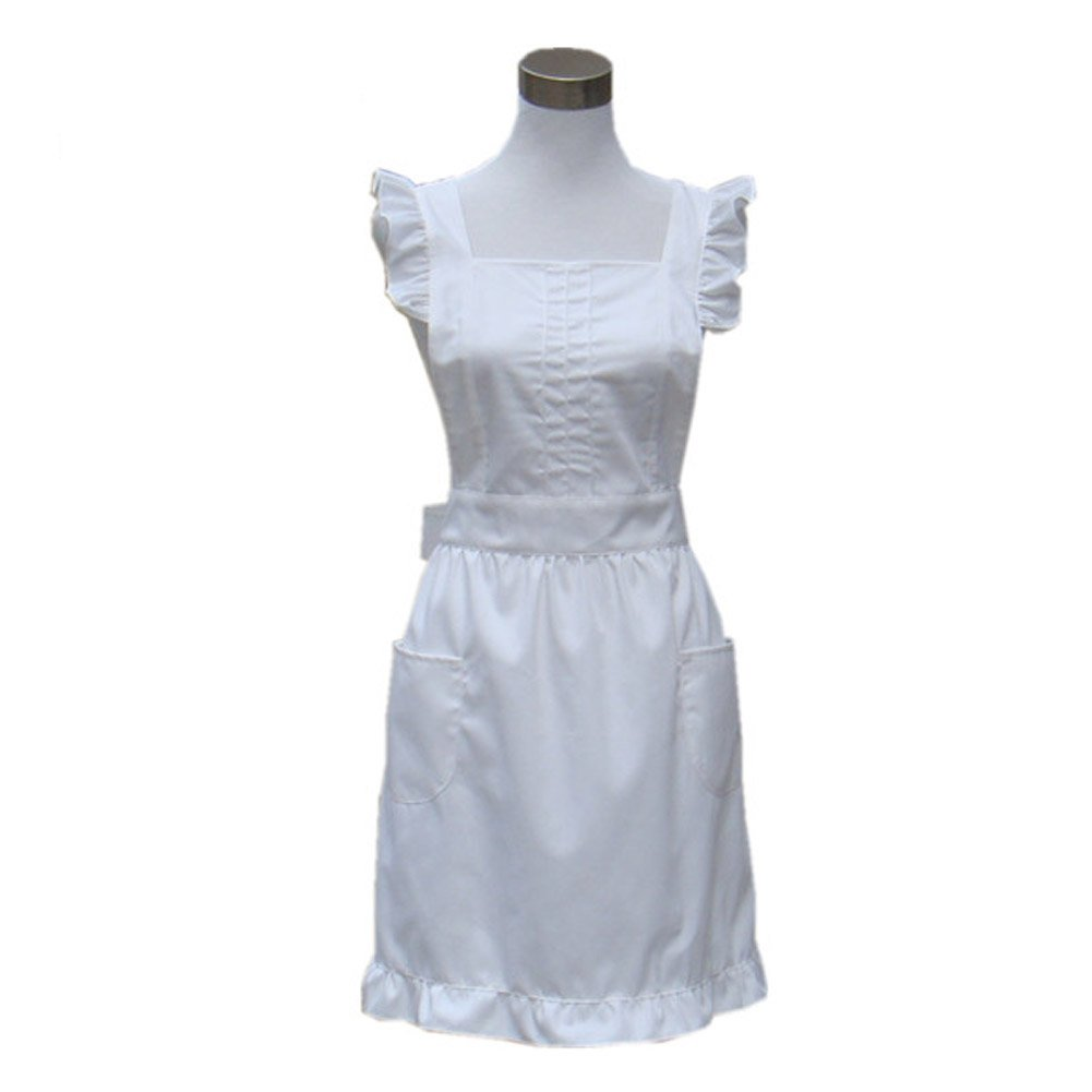 White apron green thumb - Hyzrz Cute Lovely Princess Vintage Retro Apron Handmade Lady S Kitchen Restaurant Aprons For Women With Pockets For Gift White