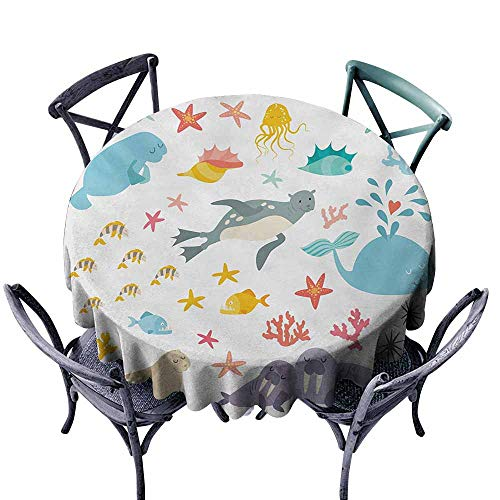 (VIVIDX Water Table Cloth,Ocean,Whale Squid Sea Lion Shark Jellyfish Clownfish Dolphin Starfish Stingrays Colorful,Party Decorations Table Cover Cloth,47 INCH,Multicolor)
