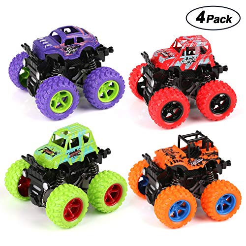 (BBLIKE Monster Trucks Toys Car for Boys ,Pull Back Toys Car Friction Powered Cars for Kids Age 2-5 Year Toddler -4 Pack)