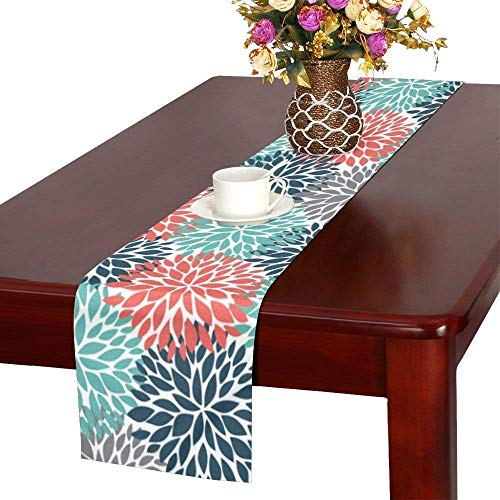 InterestPrint Dahlia Pinnata Flower Teal Coral Gray Table Runner Linen & Cotton Cloth Placemat Home Decor for Kitchen Dining Wedding Party 16 x 72 Inches ()