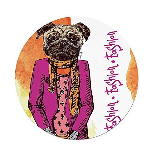 iPrint Polyester Round Tablecloth,Pug,Fashion Icon Dog Cool Clothes Scarf Necklace Jacket Handbag Tainted Background,Hot Pink Amber,Dining Room Kitchen Picnic Table Cloth Cover Outdoor Indoor - Basketweave Jacket