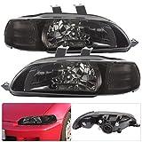 94 honda civic hatchback parts - Honda Civic Coupe Hatchback 2/3 Door 1 Piece Smoke Lens Jdm Replacement Assembly Headlights