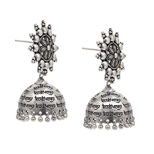 161e139aa Zephyrr Fashion German Silver Jhumka Earrings Floral Design Dangle & Drop