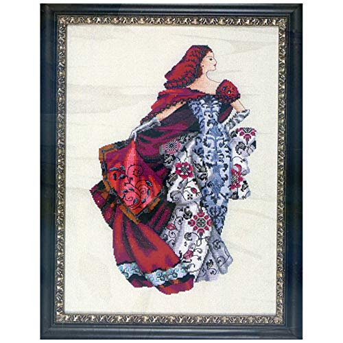 (Mirabilia Designs Red LINEN Kit Beaded Counted Cross Stitch by Nora Corbett MD128 (Bundle: Chart, Fabric, Beads, Silk Floss) )