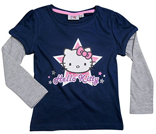 Hello Kitty Kollektion 2016 Langarmshirt 92 98 104 110 116 122 128 Mädchen Layer-Look Neu Blau (98 - 104, Blau)