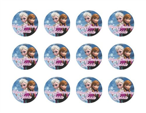 """Disney Frozen Anna & Elsa 2"""" Round Edible Cupcake Images Toppers."""