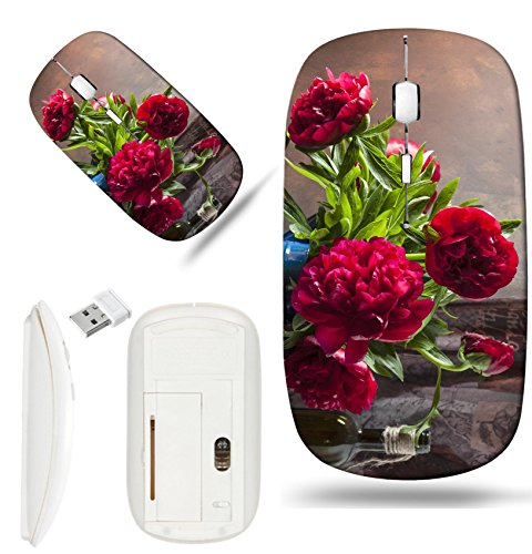 (Luxlady Wireless Mouse White Base Travel 2.4G Wireless Mice with USB Receiver, 1000 DPI for notebook, pc, laptop, mac design IMAGE ID 31561466 Pink peonies still life)