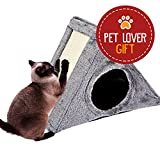 Animals Favorite Cat Scratching Board Pad, Triangle Claw Pad Corrugated Cardboard Cat Toy (Grey)