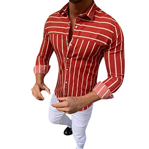 FONMA Men's Baggy Stripe Turn Down Long Sleeve Retro T Shirts Tops Blouse Red]()