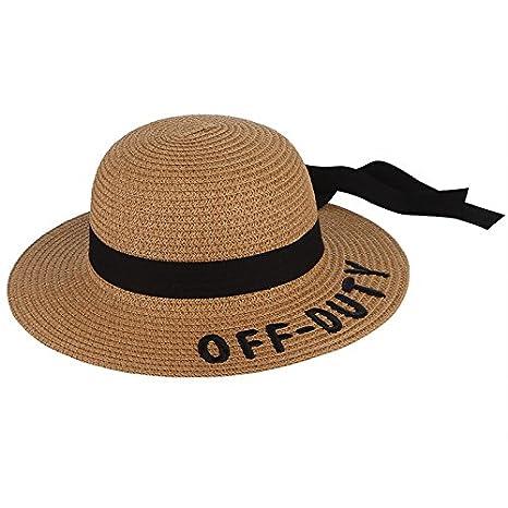 473b3f62bfa69 Amazon.com   ALWLj Girls Letter Embroidery Wide Brim Floppy Straw Hats With  Bowknot Ribbon Children Sun Hat Adjustable Kids Baby Summer Beach Cap    Sports   ...