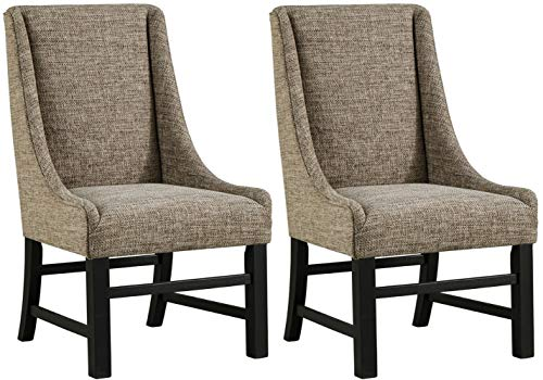 Ashley Furniture Signature Design - Sommerford Dining Arm Chair - Set of 2 - Casual - Brown Upholstery - Black Wood Frame Casual Living Room Chairs