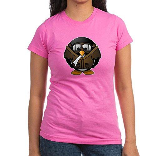 Truly Teague Junior Jr. Jersey T-Shirt (Dark) Little Round Penguin - Airplane Jet Pilot - Raspberry, Large ()