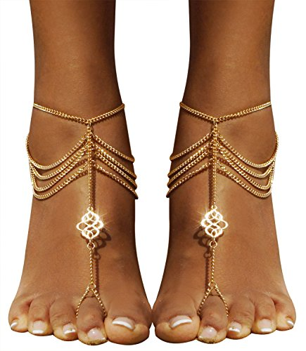 (Bienvenu 2 PCS Multi Chain Beach Tassels Anklet Chain Bracelet Barefoot Sandals Foot Jewelry)