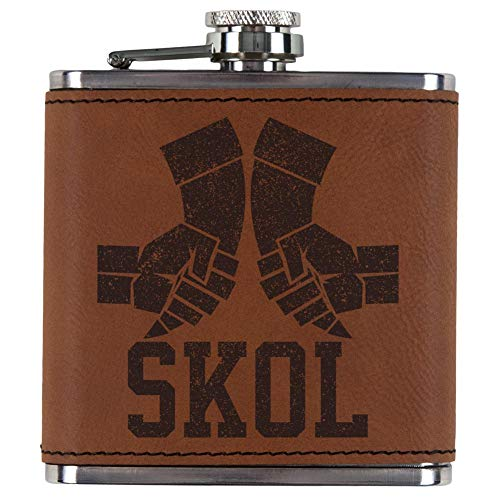 Old Glory Vikings Skol Raised Horns Flagon Etched Leatherette Flask Rawhide Standard One Size