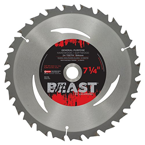 Lackmond Beast General Purpose Saw Blades with Anti-Kick Tooth - 7-1/4'' Wood Cutting Tool with ATB Grind for Clean Shears & Expansion Slots For Reduced Heat Build Up - WGPB07024K by Lackmond