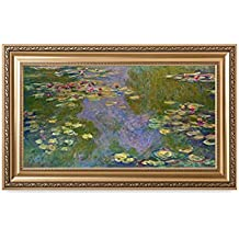 DECORARTS Water Lilies Claude Monet Giclee Fine Art Print in Embossed Gold Frame. Framed Size: 36x22