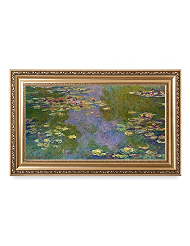 DecorArts - ''Water Lilies'' Claude Monet Giclee Fine Art Print in Embossed Gold Frame. Framed Size: 36x22'' by DECORARTS