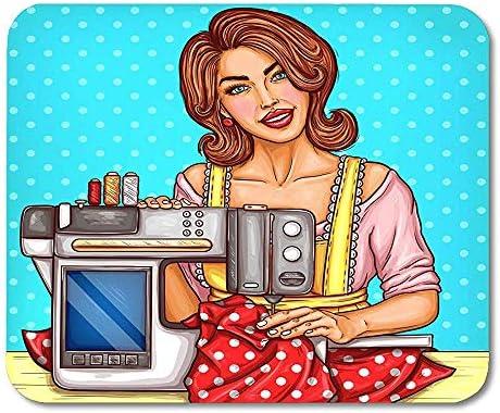 Sonriendo Costurera de Mujer Bonita Cose en una máquina de Coser ...