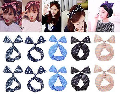 10PCS Wire Bandeau Hair Band Headband - Ear Rabbit Sweet Headdress Hair Hoop Headwear Hair Styling Tools(Color Random)