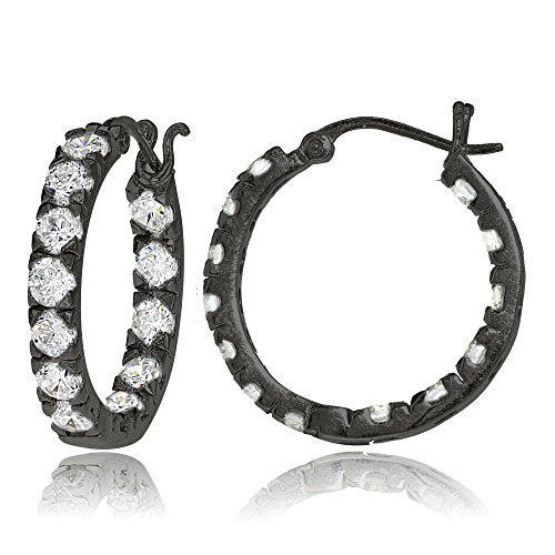 Black Flash Sterling Silver Cubic Zirconia Inside Out 3x25 mm Round Hoop Earrings (Round Mm Hoop 25)