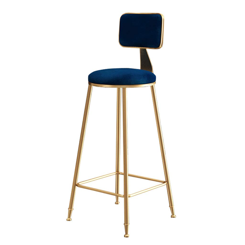 bluee 75cm Modern Barstools Chair with Backrest for Kitchen Pub Bar High Stools gold Metal Legs  Leisure Upholstered Dining Chairs  Velvet Cushion  Max Load 200kg -Pink Green bluee