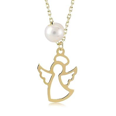 Collier pour femme en or jaune 14 carats 585 avec ange gardien et perle de 6381293bc420