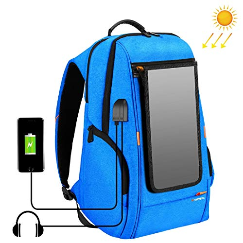 Viqie Outdoor Multi-Function 7W Solar Panel Powered Comfortable Breathable Casual Backpack Laptop Bag with Handle, External USB Charging Port & Earphone Port