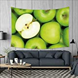 smallbeefly Apple Tapestry Table Cover Bedspread Beach Towel Realistic Looking Pile of Green Apples Healthy Sweet Snack Eating Clean Fresh Dorm Decor 71''x60'' Apple Green Cream