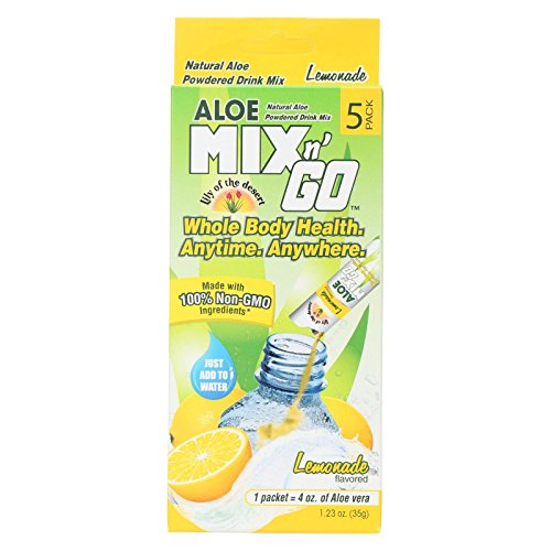 Lily of the Desert Natural Aloe Powdered Drink Mix N Go Lemonade 0.25 oz (7g) - 5ct - Reduce harmful toxins, Support healthy (0.25 Ounce Beverage)