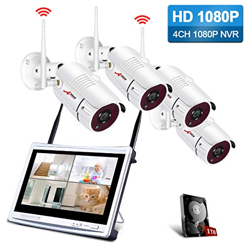 Security Camera System Wireless with 12inch LCD Monitor, ANRAN 4ch 1080p WiFi Surveillance DVR Kits with 4PCS 2.0MP CCTV IP Cameras, 1TB Hard Drive, Weatherproof, Remote Access, Motion Detection