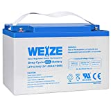 Weize 12V 100AH Pure GEL Deep Cycle Rechargeable Battery, For Solar Power System RV House Trolling Motor Wheelchair, Universal