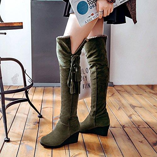 BIGTREE Rodilla Botas Altas Mujer Casual Cordones Otoño Invierno Cuña Cómodo Cálidas Botas largas De Verde