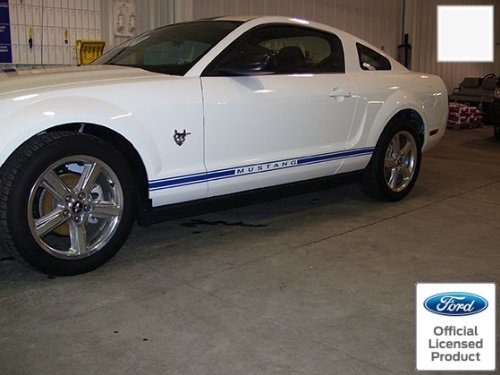 (Decal Mods Rocker Panel Door Side Stripes Decals for Ford Mustang White - RT - CW)