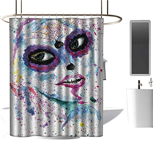 Qenuan Quality Fabric Shower Curtain Girls,Grunge Halloween Lady with Sugar Skull Make Up Creepy Dead Face Gothic Woman Artsy,Blue Purple,Metal Rust Proof Grommets Bathroom Decoration 60