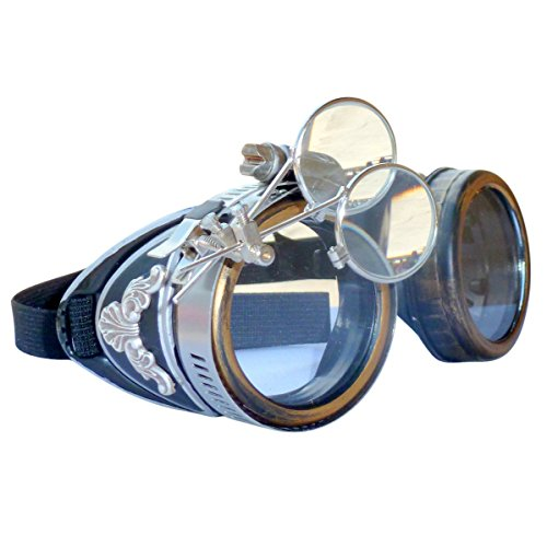 Steampunk GogGLes VicTORian Novelty Glasses cosplay Antique filigree S1 (Clear 1x)