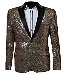 Men Sequin One Button Golden M Jacket