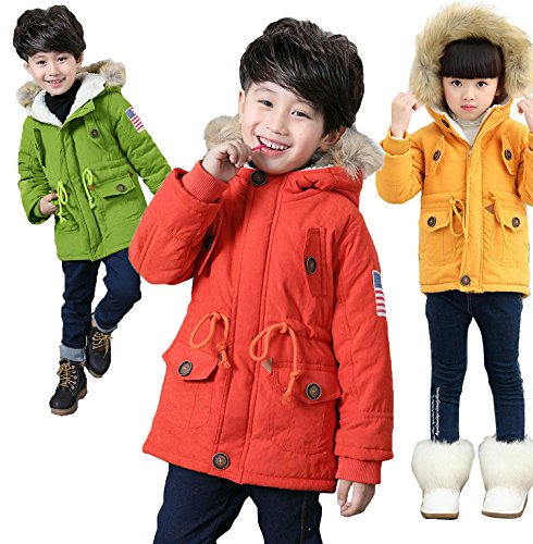 Flag Hooded Cotton USA Orange Jacket Outwear Girls' Winter Coat Gaorui Thick qBwXHOnS