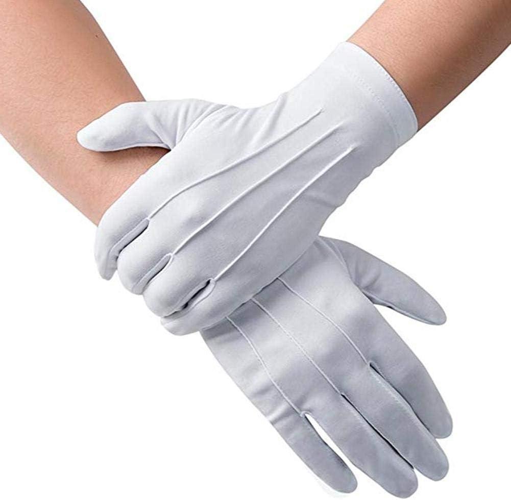 handkosmetische Brownrolly 3 Paar wei/ße weiche Baumwolletikettenhandschuhe mit dunkler Schnalle dehnbarer Futterhandschuh f/ür trockene feuchtigkeitsspendende M/ünzschmuck-Inspektion