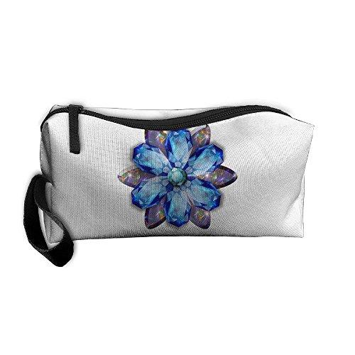Cosmetic Bags Brush Pouch Makeup Bag Crystal Diamond Brooch Zipper Wallet Hangbag Pen Organizer Carry Case Wristlet (April Brooch)